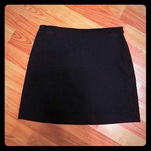 Black embroidered mini skirt